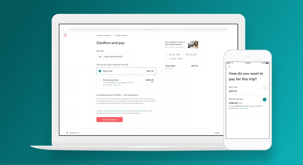 Airbnb gives users the ability to 39 pay less up front 39 on for Airbnb how to pay