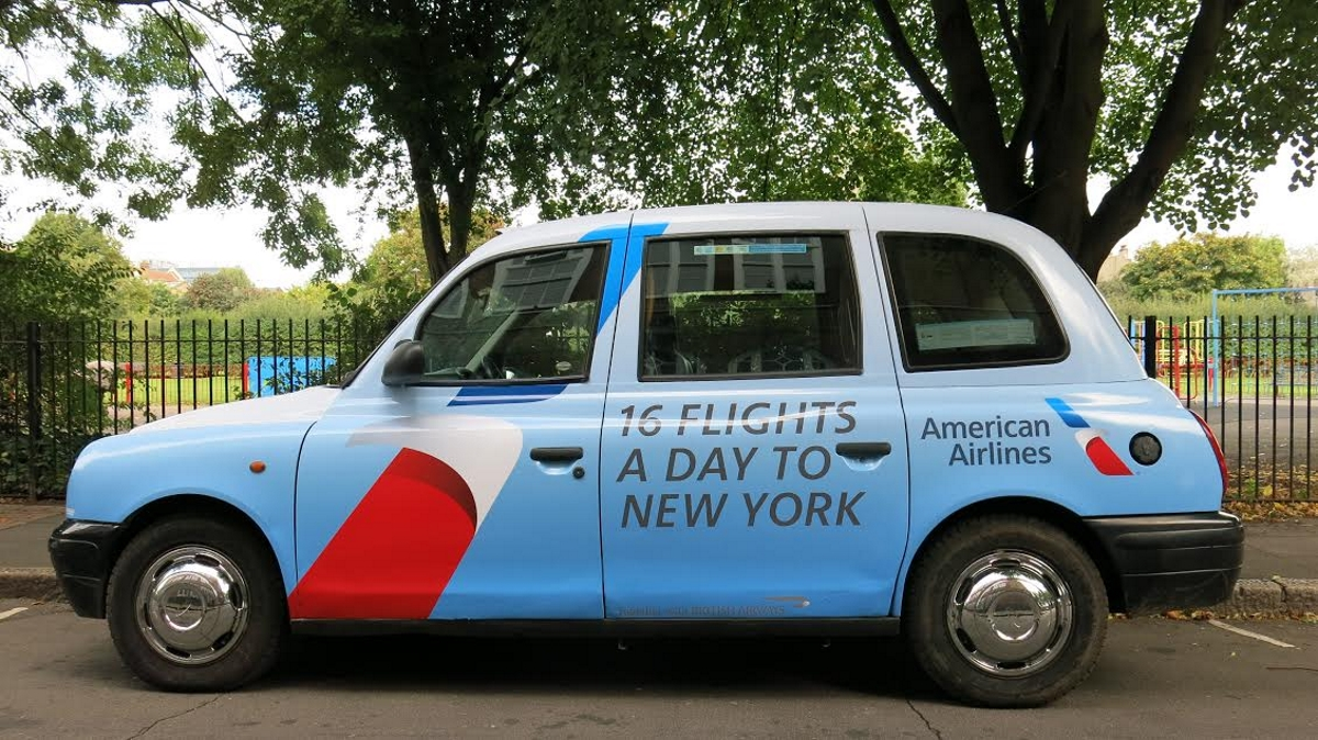 American Airlines Mediacom geofenced taxi
