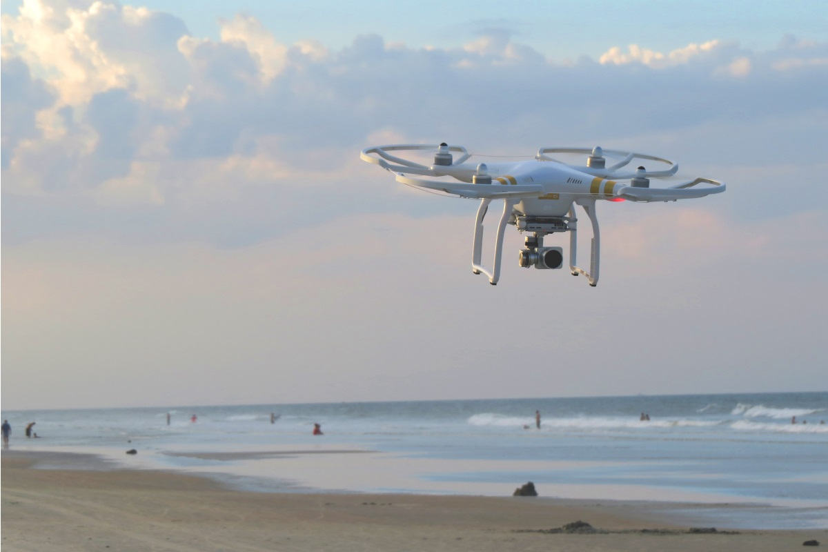 Drone flying over beach
