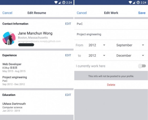 Facebook is testing a LinkedIn-like CV feature