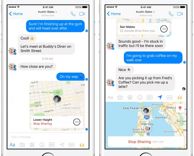 Facebook rolls out location sharing feature in Messenger