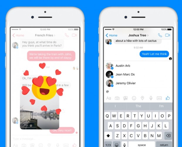 Facebook adds iMessage-style reactions and mentions to Messenger