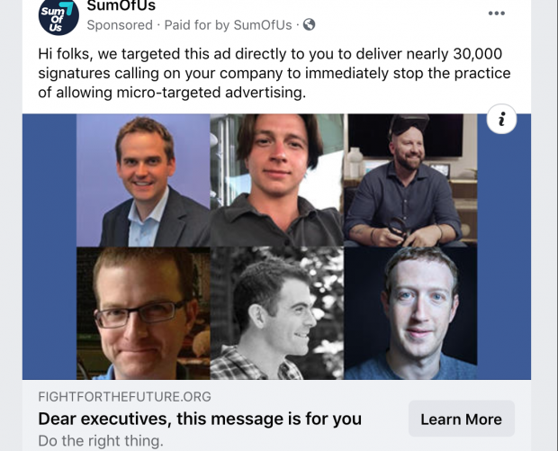 Campaigners use micro-targeted Facebook ad to call on Facebook to halt micro-targeting