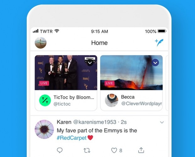 Twitter places live broadcasts at the top of your timeline