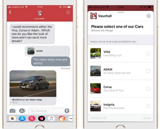 Vauxhall launches Apple Business Chat to provide model info and test drives