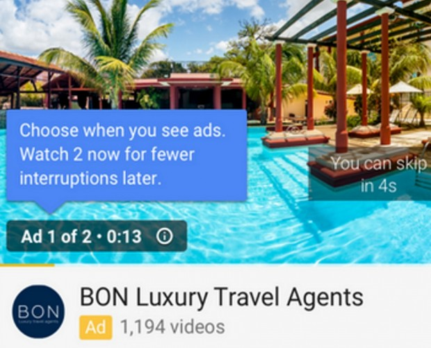 YouTube trials back-to-back ads for fewer interruptions