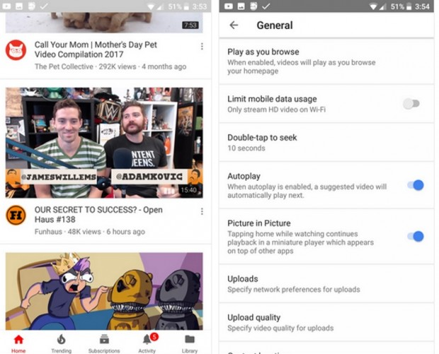 YouTube testing auto-playing videos on app homepage