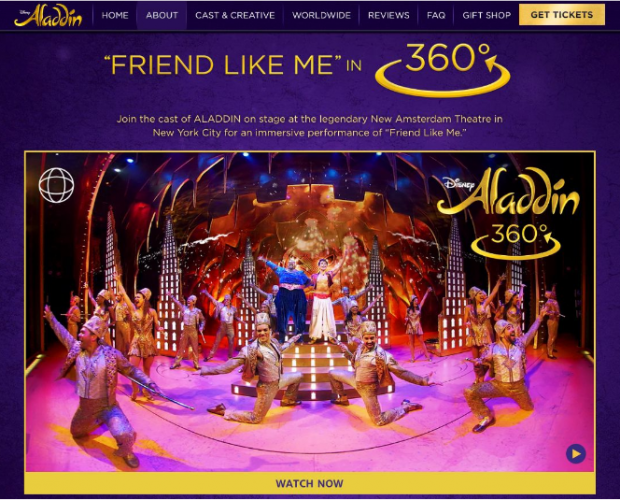 Disney and OmniVirt launch 360° video ad campaign for Aladdin on Broadway