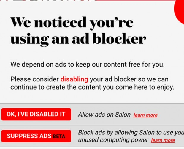 Salon offers ad blockers a choice: view ads or be used to mine cryptocurrency